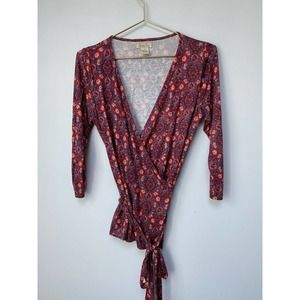 LUCKY BRAND Floral Geometric Wrap blouse size s
